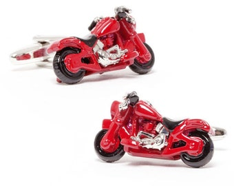 Red Motorcycle Cufflinks 3D Cool Moto Cuff Links