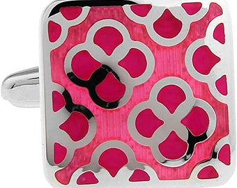 Rose Pink Floral Cufflinks Designer Repp Floral Fuscia Pink Square Cuff Links
