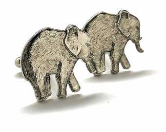 Elephant Cufflinks Silver Tone Antique  Majestic Beautiful Walking Elephant Cool Cuff Links Comes with Gift Box