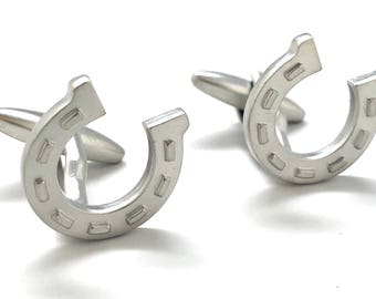 Silver Lucky Horseshoe Cufflinks Fun Cool Good Luck Winning Horse Charms Matte Finish Cuff Links Comes with Gift Box