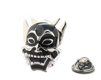Enamel Pin Samurai Ninja Warrior Mask Lapel Pin Silver Tone Lucky Black Enamel Tie Tack Collector Pin Comes with Gift Box