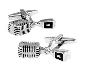 Microphone Cufflinks Silver Tone Black Enamel Broadcast Jockey Old School Talk Show Mic Radio Announcer DJ Cuff Links Cool Fun Unique Gift