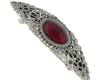 Silver Amethyst Oval Stone Barrette, Hair Accessories