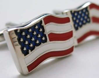 Waving Home Of the Brave American Flag Cufflinks Cuff Links