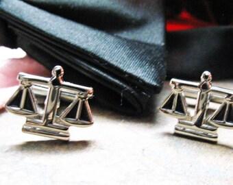 Scales of Justice Cufflinks Judge Law Lawyer Unique Silver Tone Cutout Black Enamel Cuff Links