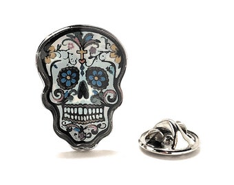Enamel Pin Day of the Dead Skull & Cross Bones Lapel Pin Silver Designs Many to Choose From Halloween Skull Nightmares Silver Toned