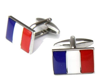 Mens Executive Cufflinks Flags Around the World France French Flag European Travels Cuff Links