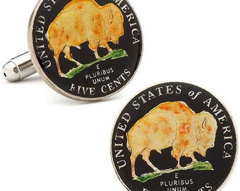 Enamel Cufflinks Hand Painted Black Enamel Coin Jewelry Edition Authentic US Currency Buffalo Nickel Bison Cuff Links Anniversary Gifts Guy