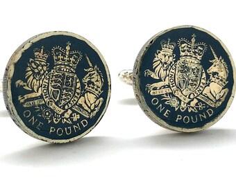 Enamel Cufflinks British Lion Scotland Unicorn British One Pound Shield Crest Family Seal Hand Painted Blue Enamel Coin Jewelry Cuff Links