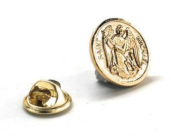 Enamel Pin Gold St. Michael the Archangel Round Lapel Pin Religious Faith Cufflinks