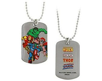Dog Tag Marvel Comics The Avengers Unite Fighting Dog Tag Necklace  Iron Man Hulk Captain America Thor vintage jewelry