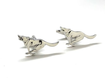 Running Retriever Dog Cufflinks Silver Tone 3D Design Good Times Fun Cool Unique Cuff Links Gift Box