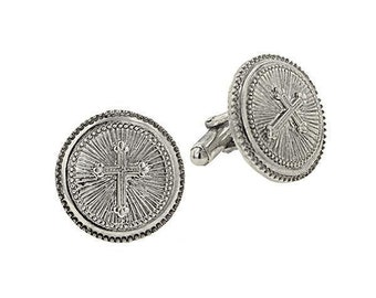 Silver Cross Round Cuff Links Etched Religious Collection Faith Cufflinks