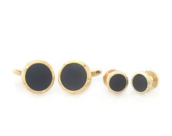 Gold Onyx Cufflinks with Matching Shirt Studs Silver with Cuff Links Shirt  4 Studs Comes with Gift Box
