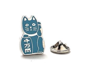 Lucky Cat Enamel Pin, Light blue
