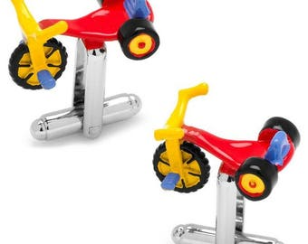 Tricycle Cufflinks Fun Toys Tricycle Colorful Big Wheel Rollin Cufflinks Cuff Links Anniversary Present Cool Cufflinks White Elephant Gifts