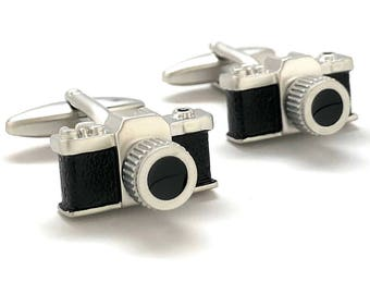 3D Highly Detailed Old School Camera Cufflinks Photography Picture Prints Camera Buff Hobby Photographer 3D Design Cool Fun 35mm Cuff Links