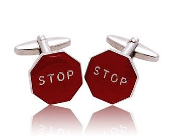 Red Stop Sign Cufflinks Novelty Cufflinks Fun Cool Guy Gift Cuff links