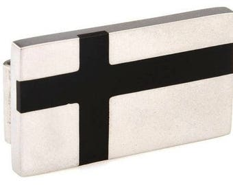 Stainless Steel and Black Enamel Cross Money Clip  Dad's Money Clip
