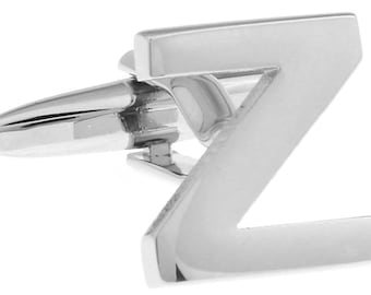 Z Initial Cufflinks Silver 3-D Letter Z Block English Letters Cuff Links Groom Father of the Bride Wedding Father's Day Gift Box