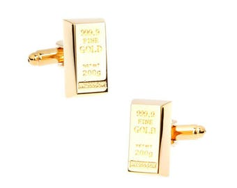 Gold Tone Plated Bullion Bar Cufflinks Financial Rich Fort Knox Cool Fun Money Cuff Links Comes with Gift Box