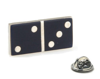 Black and Silver Domino Lapel Pin Game Novelty Fun Silver Enamel Pin