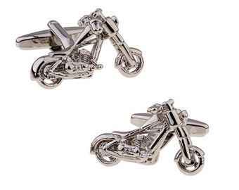 Silver Chopper Cufflinks Easy Rider Big Motor Cycle Motorcycle Bike Unique Fun Classy Free as a Bird Cuff Links Comes with Gift Box