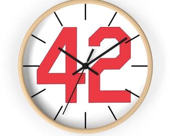 Baseball Clock Wall clock Number Forty Two Honoring Baseball's Barrier Breaker Red 42
