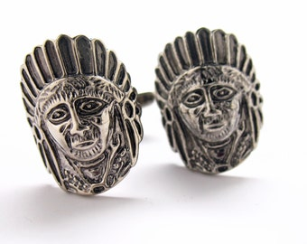 Warrior Chief Cufflinks Pewter Tone Native American Links White Elephant Gifts