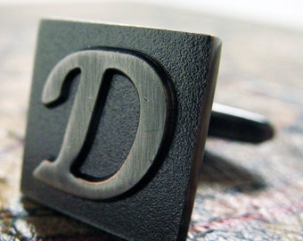 D Initial Cufflinks Gunmetal Square 3-D Letter Vintage English Letters Wedding Cuff Links Groom Father of Bride Anniversary Comes Gift Box