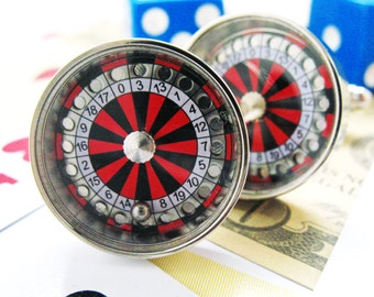 Vegas Roulette Table Cufflinks Silver Toned Moving Ball Gambling Fun Cuff Links
