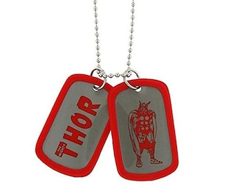 Dog Tag Thor Mighty God of Thunder Red Double-Sided Dog Tag Super Cool Marvel Vintage vintage jewelry