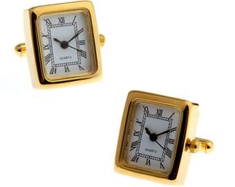 Gold Watch Cufflinks Very Cool Stainless Steel Working Watch Clocks Watches Face Cufflinks Cuff Links