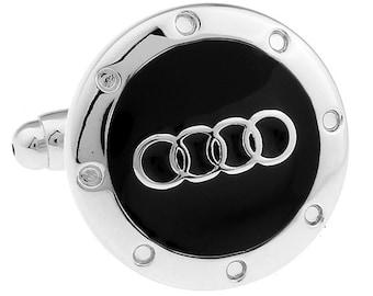 Audi automotive car Black Silver Cufflinks Cuff Links