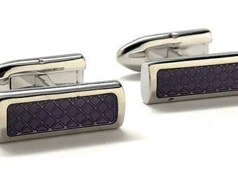 Purple Flip Bar Post Cufflink Silver Tone Purple Checkered Pattern Design Cool Classy Look Purely Stunning Cuff Links with Gift Box