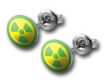 Earrings Hulk Green Radioactive Logo Petite Stud Earrings Superhero Incredible Hulk Collection Jewelry
