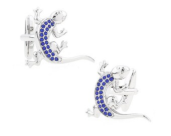 Silver Montana Blue Crystals Gecko Lizard Cufflinks Unique 3D Design Cool Fun Cufflinks Comes with Gift Box