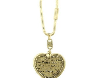 Heart Peace on Earth Key Ring with Chain Gold Heart Peace Christmas Gift Key Fob
