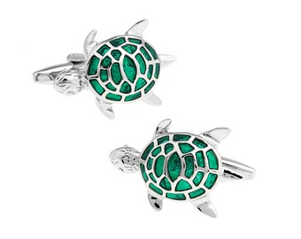 Green Sea Turtle Cufflinks Silver Artistic Stone Turtles Cuff Links Wedding Cufflinks cool cufflinks