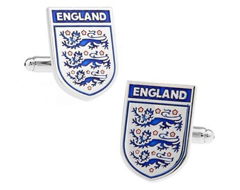 England Shield Cufflinks Silver Blue Football Soccer Cufflinks English Britain Enamel Cuff Links Comes Gift Box British