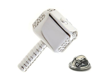 Silver Enamel Pin Thor Lapel Pin, Heavy Hammer Tie Tack