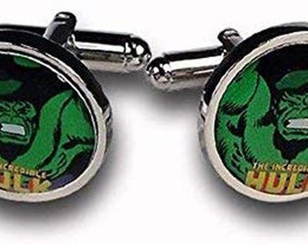 Marvel Comics Cufflinks Superhero Green Incredible Hulk Cuff Links Gifts for Dad Gifts for Him