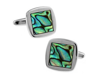 Abalone Shell Silver Trim Cufflinks Distinctive Look Real Shell Cool Mother of Pearl Cuff Links Comes with Gift Box