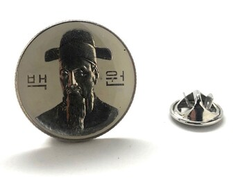 Enamel Pin South Korea Coin Enamel Coin Lapel Pin Tie Tack Travel Souvenir Coins Keepsakes Cool Fun Gift Box
