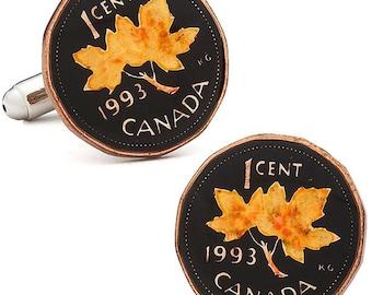 Enamel Cufflinks Hand Painted Canada Enamel Coin Jewelry Maple Leaf Canadian Cuff Links Calgary Edmonton Halifax Montreal Toronto Vancouver