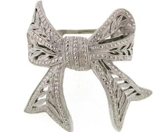 Filigree Bow Pony Tail Holder Hair Clip Beautiful Tone Elegant Twists SIlver Bow Hair Barrett