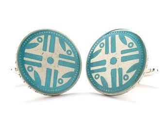 Enamel Cufflinks Native American Suit Vintage Antique Turquoise Indian Western South America Indigenous Tribal Navajo Enamel Coin Jewelry