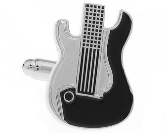 Electric Guitar Cufflinks Silver and Black Enamel Guitar Jewelry Music Rock and Roll Band Comes with Gift Box