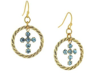 Gold Cross hoops Aqua Blue Shimmering Crystals  Religious Faith Collection Jewelry