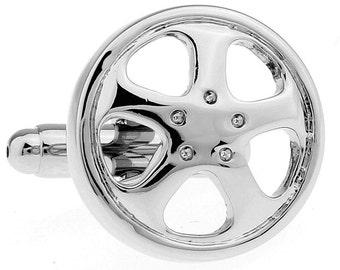 Car Rims Cufflinks Shiny Chrome Car Truck Auto Wheels Cufflinks Cuff Links